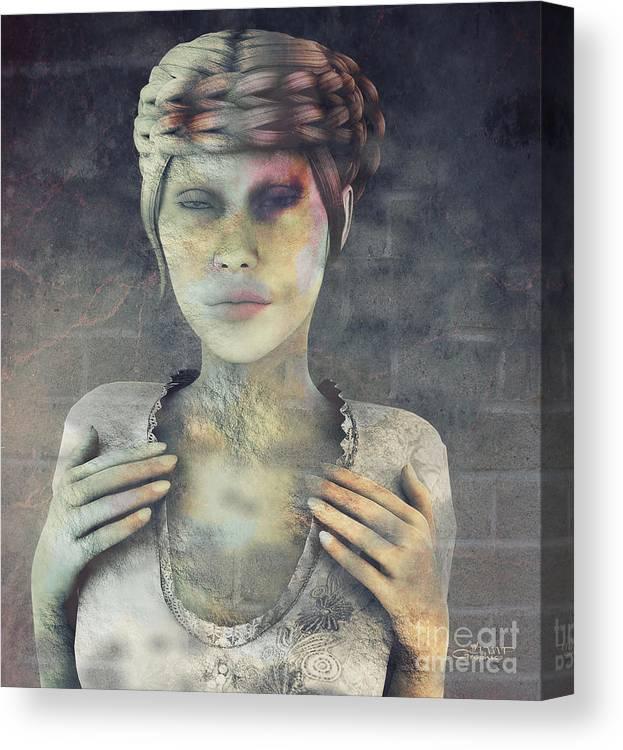 3d Canvas Print featuring the digital art Gradual Fossilization by Jutta Maria Pusl