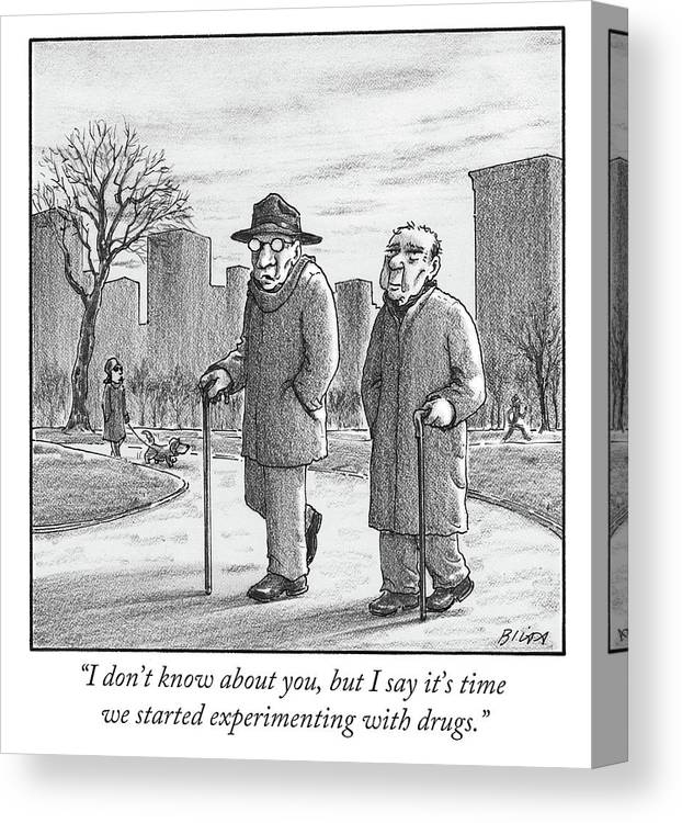 Cane Canvas Print featuring the drawing Two Older Men Walk With Canes Through A Park. by Harry Bliss