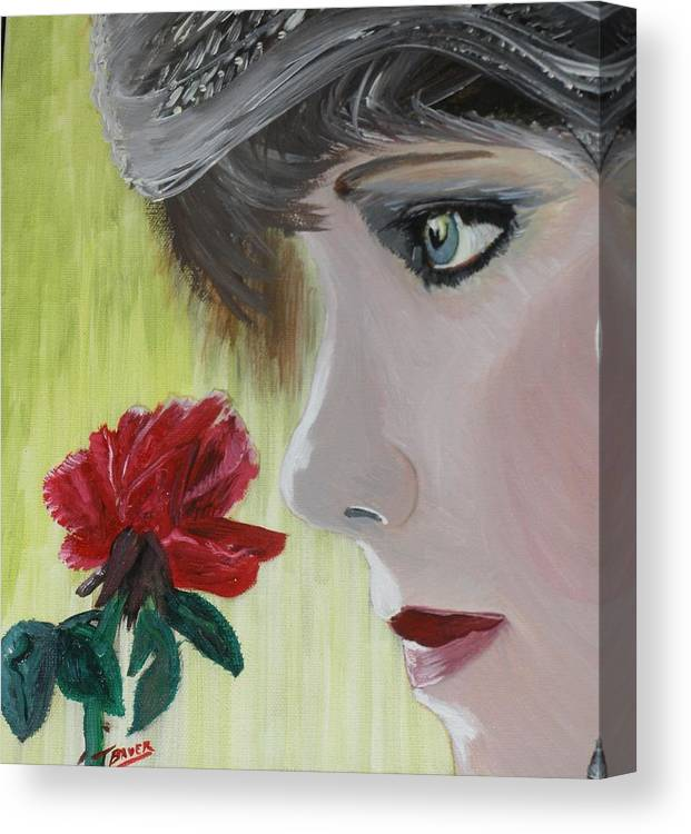 Romance Canvas Print featuring the painting Wedding Rose by J Bauer