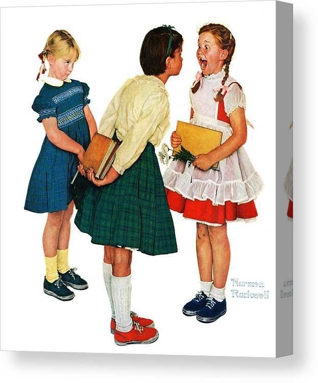 Books Canvas Print featuring the drawing Missing Tooth by Norman Rockwell