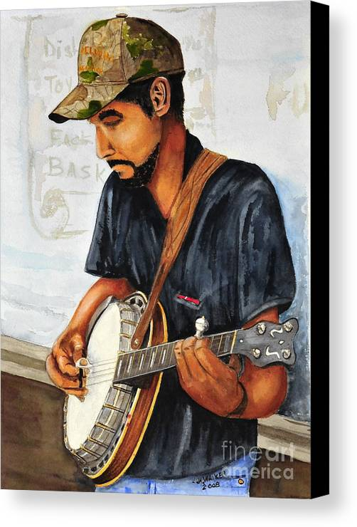Banjo Canvas Print featuring the painting Banjo Player by John W Walker