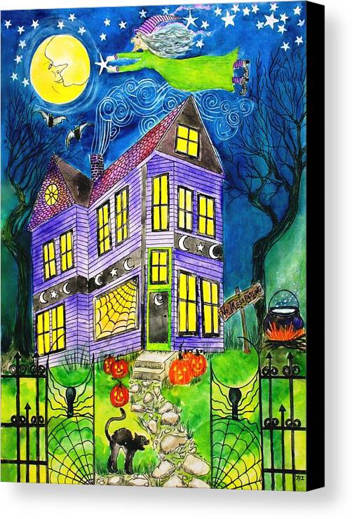 Hallows Eve Canvas Print featuring the painting Flight Of The Moon Witch On Hallows Eve by Janet Immordino