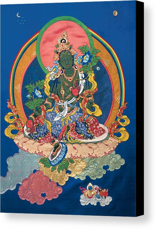 Buddha Canvas Print featuring the tapestry - textile Green Tara by Leslie Rinchen-Wongmo