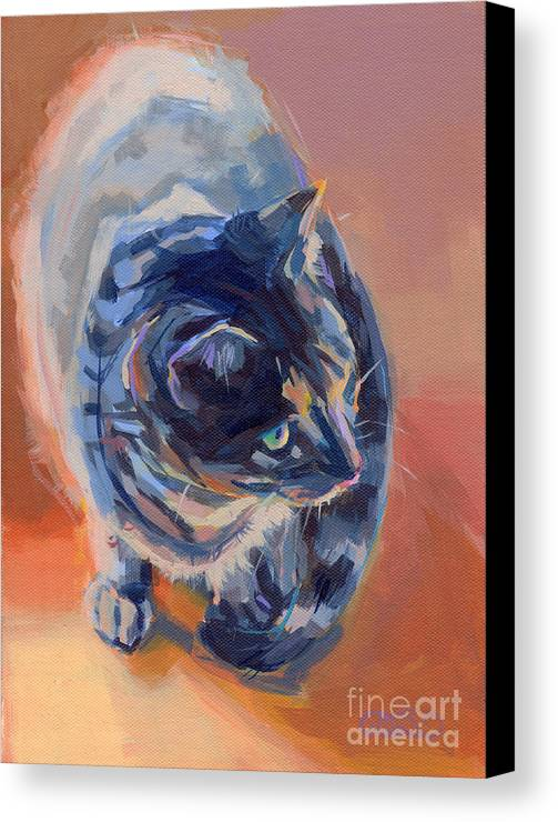 Tabby Cat Canvas Print featuring the painting Mona Lisa by Kimberly Santini