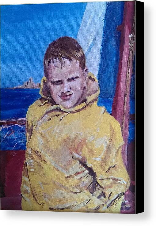 Boat Canvas Print featuring the painting A Boy On A Boat by Jack Skinner