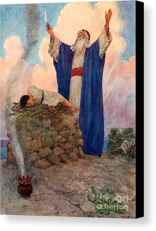 Bible; Abraham; Isaac; Mount Moriah; Sacrifice Canvas Print featuring the painting Abraham And Isaac On Mount Moriah by William Henry Margetson