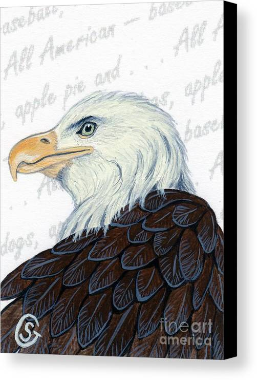 Bald Eagle Canvas Print featuring the painting Bald Eagle -- Proud To Be An American by Sherry Goeben