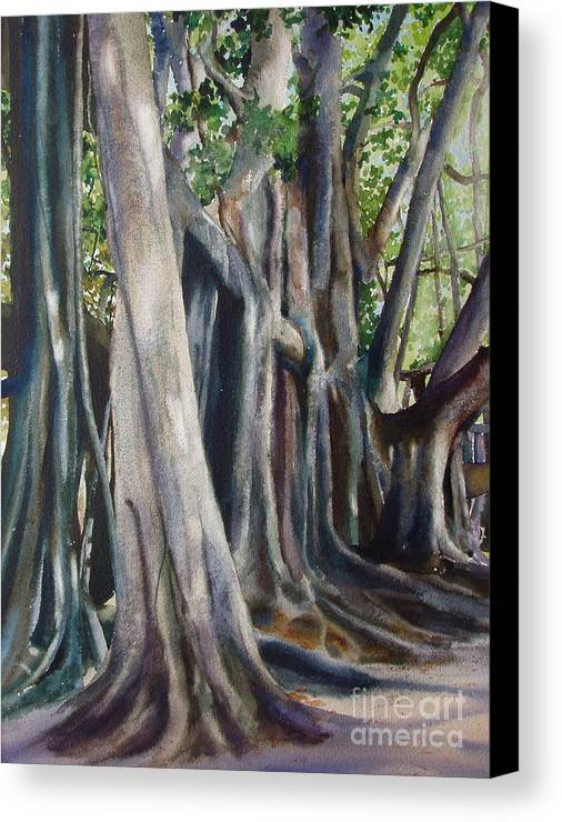 Trunks Canvas Print featuring the painting Banyan Trees by Karol Wyckoff