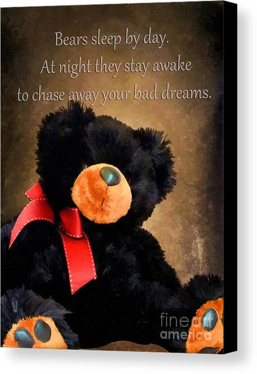 Animal Canvas Print featuring the photograph Bears Sleep By Day by Darren Fisher