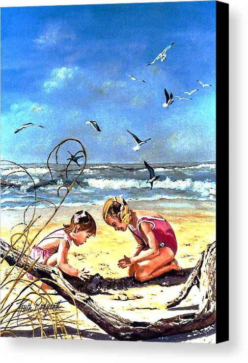 Beach Canvas Print featuring the painting Building Castles by Ruth Bodycott