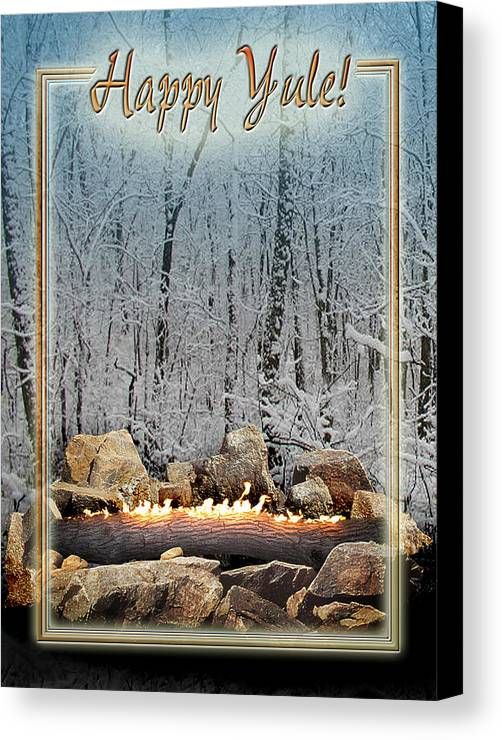 Yule Canvas Print featuring the digital art Burning Yule Log by Melissa A Benson
