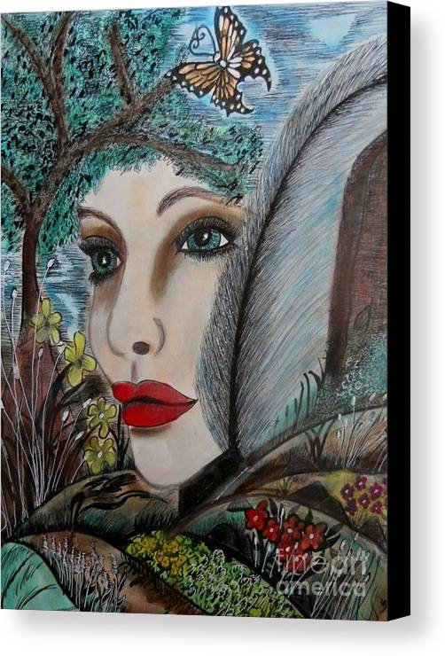Canvas Print featuring the mixed media Butterfly Lady by Suzanne Thomas
