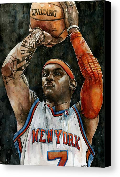Carmelo Canvas Print featuring the painting Carmelo Anthony by Michael Pattison