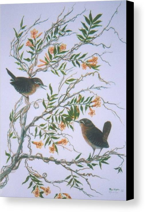 Bird; Flowers Canvas Print featuring the painting Carolina Wren And Jasmine by Ben Kiger