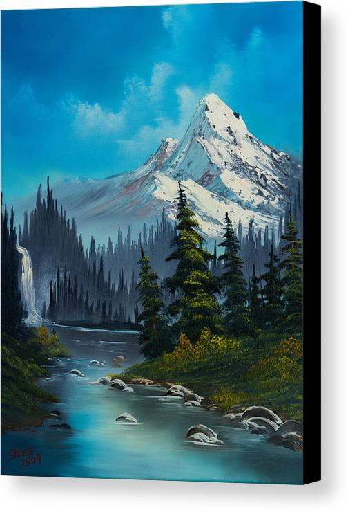 Landscape Canvas Print featuring the painting Cascading Falls by C Steele