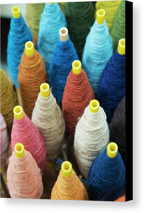 Textile Canvas Print featuring the photograph Close Up Of Japanese Textile Material by Philippe Widling