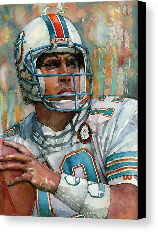 Dan Canvas Print featuring the painting Dan Marino by Michael Pattison