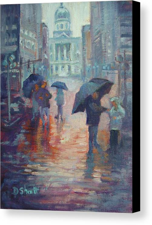 Rain Canvas Print featuring the painting Day For Ducks by Donna Shortt