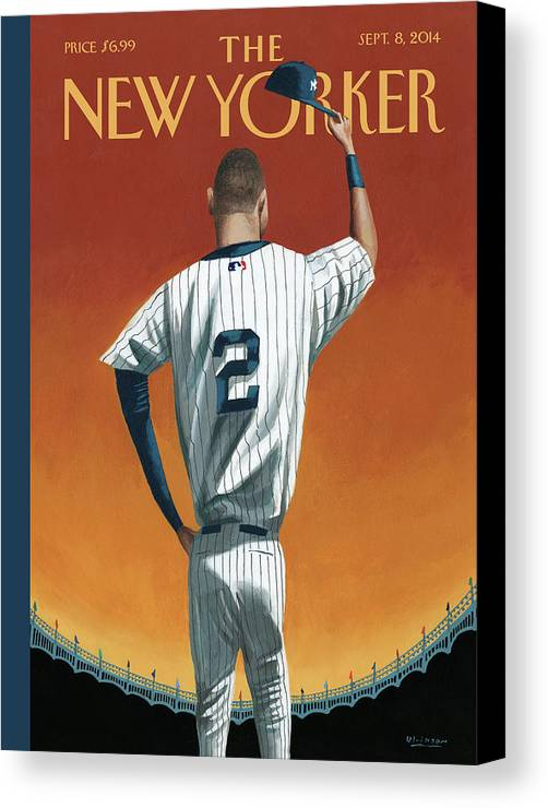 Retirement Canvas Print featuring the painting Derek Jeter Bows by Mark Ulriksen