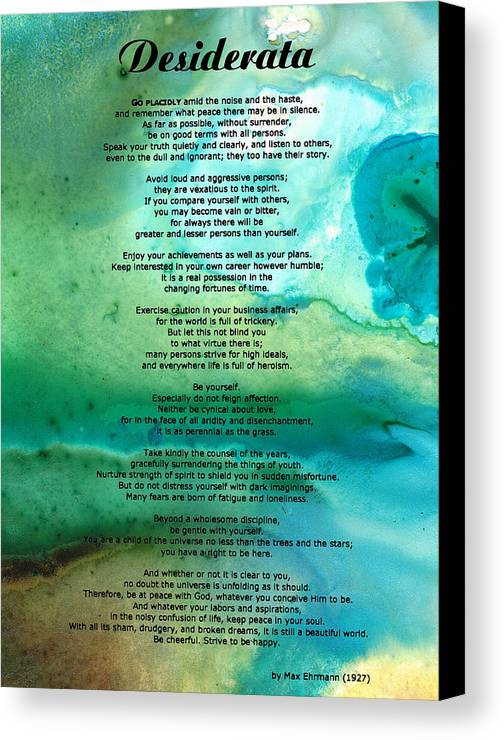 Desiderata Canvas Print featuring the painting Desiderata 2 - Words Of Wisdom by Sharon Cummings