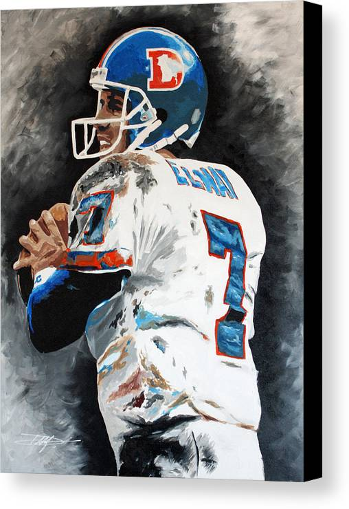 Elway Canvas Print featuring the drawing Elway by Don Medina