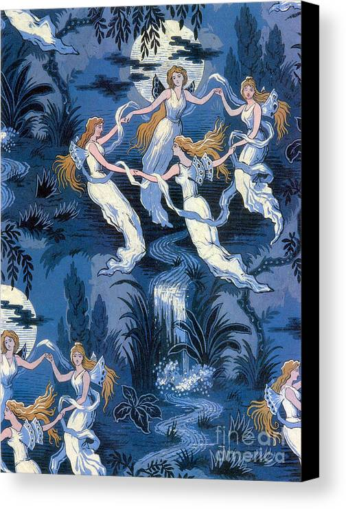 History Canvas Print featuring the photograph Fairies In The Moonlight French Textile by Photo Researchers