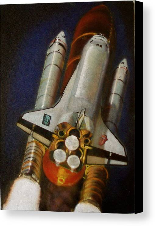 Space Shuttle;launch;liftoff;blastoff;rockets;engines;astronauts;spaceart;nasa;photorealism Canvas Print featuring the painting God Plays Dice by Sean Connolly