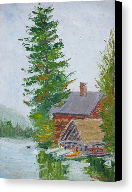 Adirondaks Canvas Print featuring the painting Great Camp Sagamore Boat House by Robert P Hedden