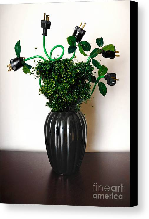 Alternative Energy Canvas Print featuring the photograph Green Energy Floral Arrangement Of Electrical Plugs by Amy Cicconi