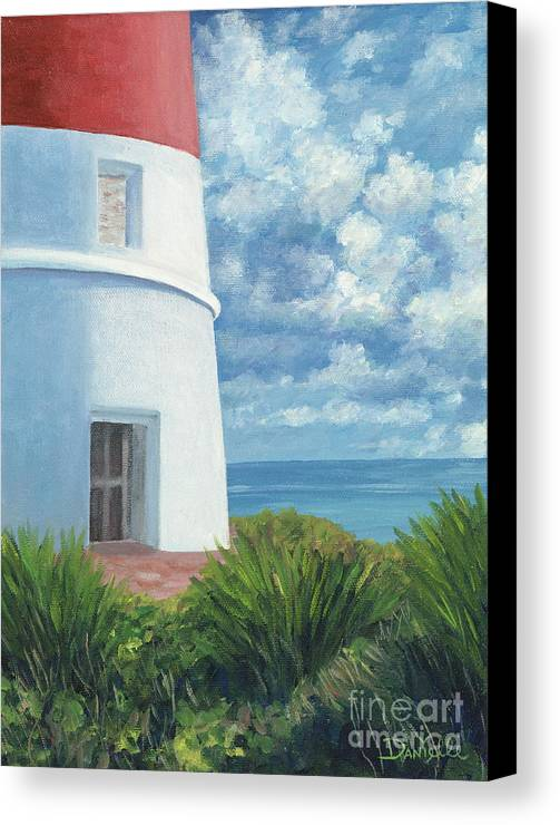 Seascape Canvas Print featuring the painting Gun Cay Lighthouse by Danielle Perry