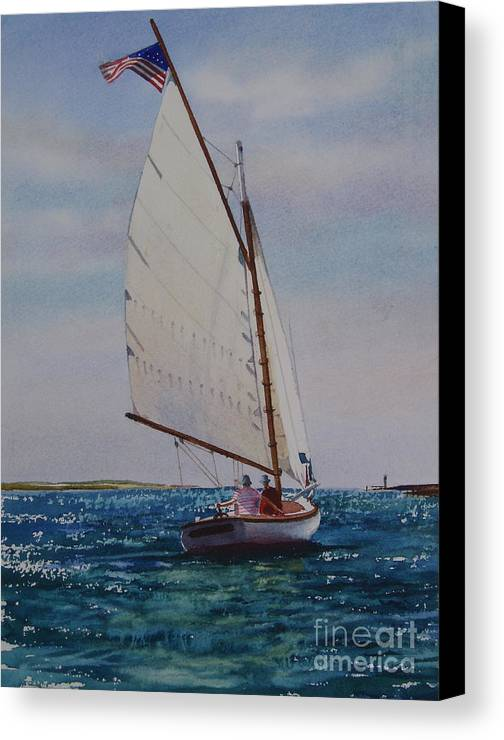 Catboat Canvas Print featuring the painting Heading Out by Karol Wyckoff
