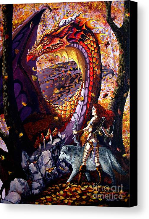 Dragon Canvas Print featuring the painting Highland Huntress by Stanley Morrison