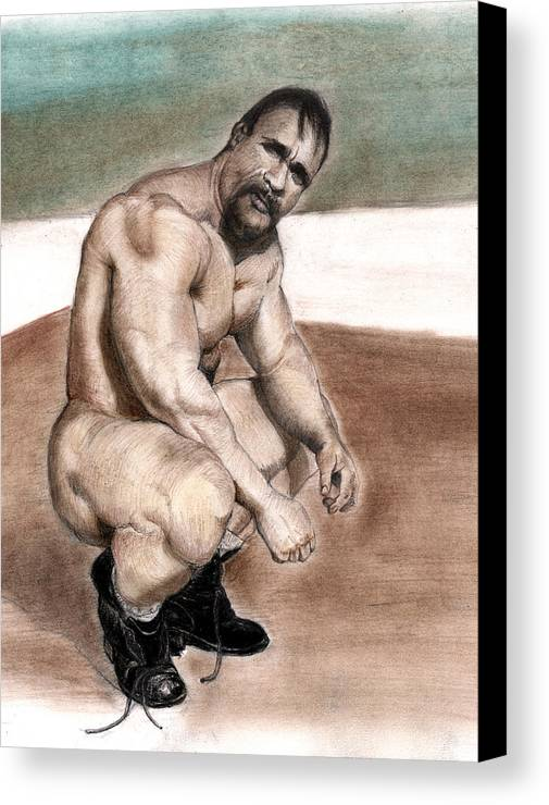 Fighter Canvas Print featuring the drawing Il Pugile by Mon Graffito