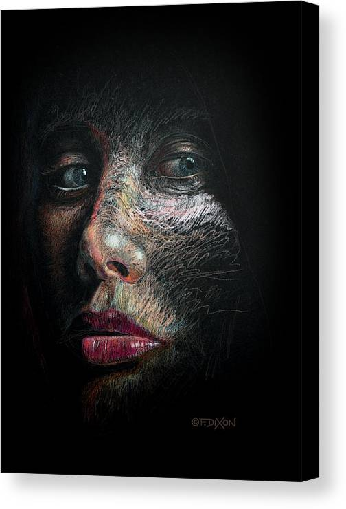 Portrait Canvas Print featuring the drawing Into The Light by Frank Robert Dixon