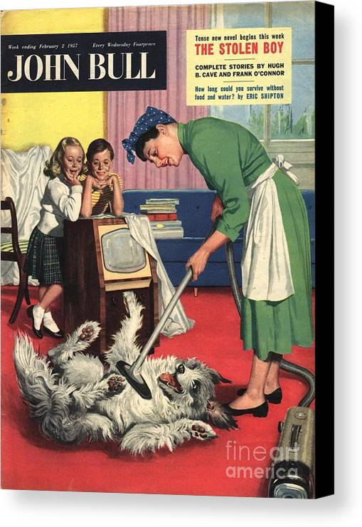 1950�s Canvas Print featuring the drawing John Bull 1957 1950s Uk Dogs Cleaning by The Advertising Archives