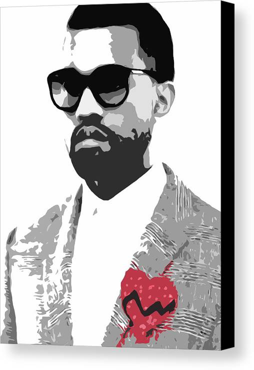 Black Canvas Print featuring the digital art Kanye West by Mike Maher