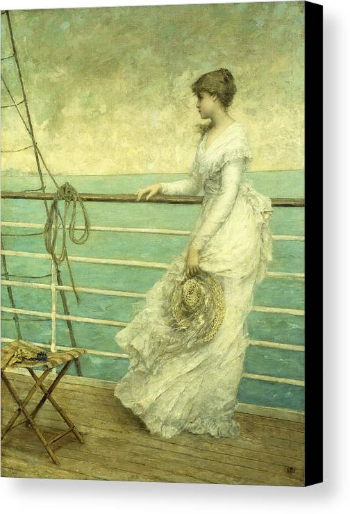 Lady; Deck; Ship; Sea; Seascape; Rigging; Ropes; Boat; Travel; Travelling; Journey; Transport; Young; Youth; Romantic; Pretty; Beauty; Beautiful; White; Lace; Dress; Demure; Lost In Thought; Pensive; Thoughtful; Hat; Stool; Seat; Victorian; On Deck Canvas Print featuring the painting Lady On The Deck Of A Ship by French School