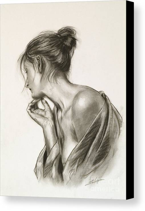 Paintings Canvas Print featuring the drawing Laura In Deep Thought by John Silver