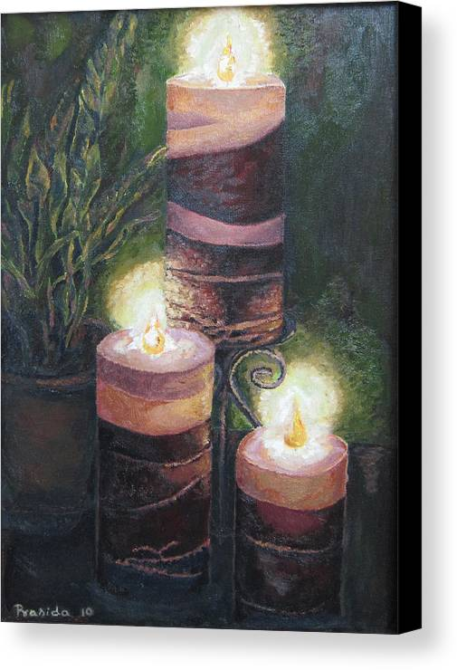 Candles Canvas Print featuring the painting Lighting The Dark Corners by Prasida Yerra