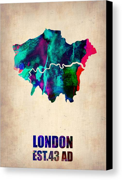 London Canvas Print featuring the painting London Watercolor Map 2 by Naxart Studio