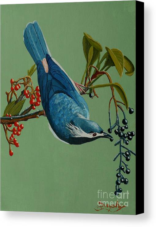 Bird Canvas Print featuring the painting Lunch Time For Blue Bird by Anthony Dunphy