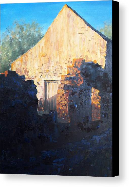Mission Canvas Print featuring the painting Mission At Sunset by Scott Alcorn