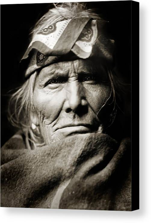 Edward Curtis Canvas Print featuring the photograph Native American Zuni - Si Wa Wata Wa by Jennifer Rondinelli Reilly - Fine Art Photography