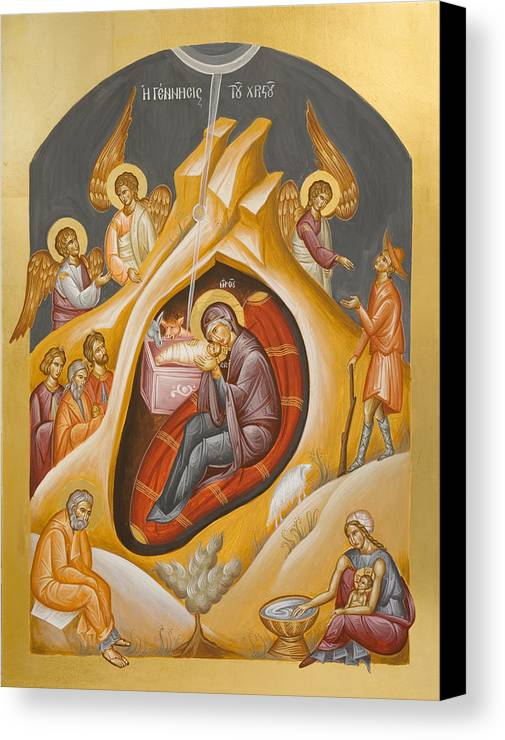 Nativity Canvas Print featuring the painting Nativity Of Christ by Julia Bridget Hayes