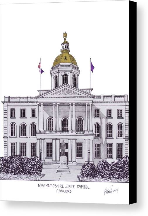 New Hampshire State Capitol Drawing Canvas Print featuring the drawing New Hampshire State Capitol by Frederic Kohli