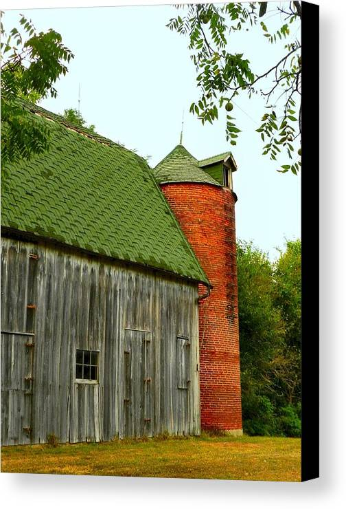 Old Barns Canvas Print featuring the photograph Old Barn With Brick Silo II by Julie Dant