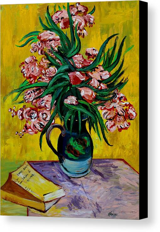 Oleander Canvas Print featuring the painting Oleanders by Karon Melillo DeVega