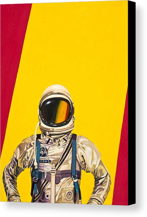 Astronaut Canvas Print featuring the painting One Golden Arch by Scott Listfield