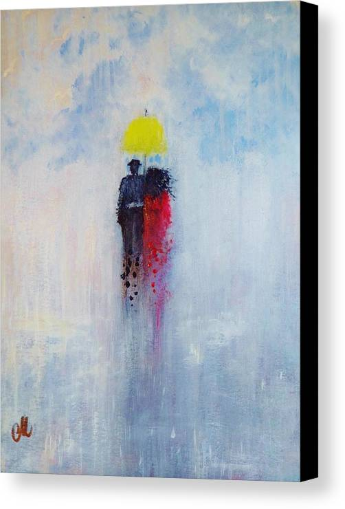 Woman Canvas Print featuring the painting Our Love And A Summer Rain by Cristina Mihailescu