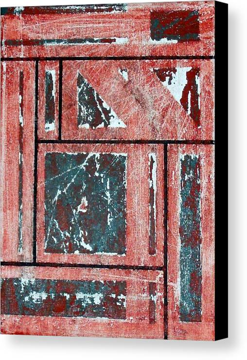 Abstract Canvas Print featuring the mixed media Past Tense by Linda Wimberly